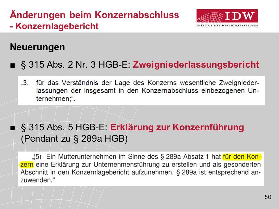 80 Neuerungen ■§ 315 Abs. 2 Nr. 3 HGB-E: Zweigniederlassungsbericht ■§ 315 Abs. 5 HGB-E: Erklärung zur Konzernführung (Pendant zu § 289a HGB) Änderung