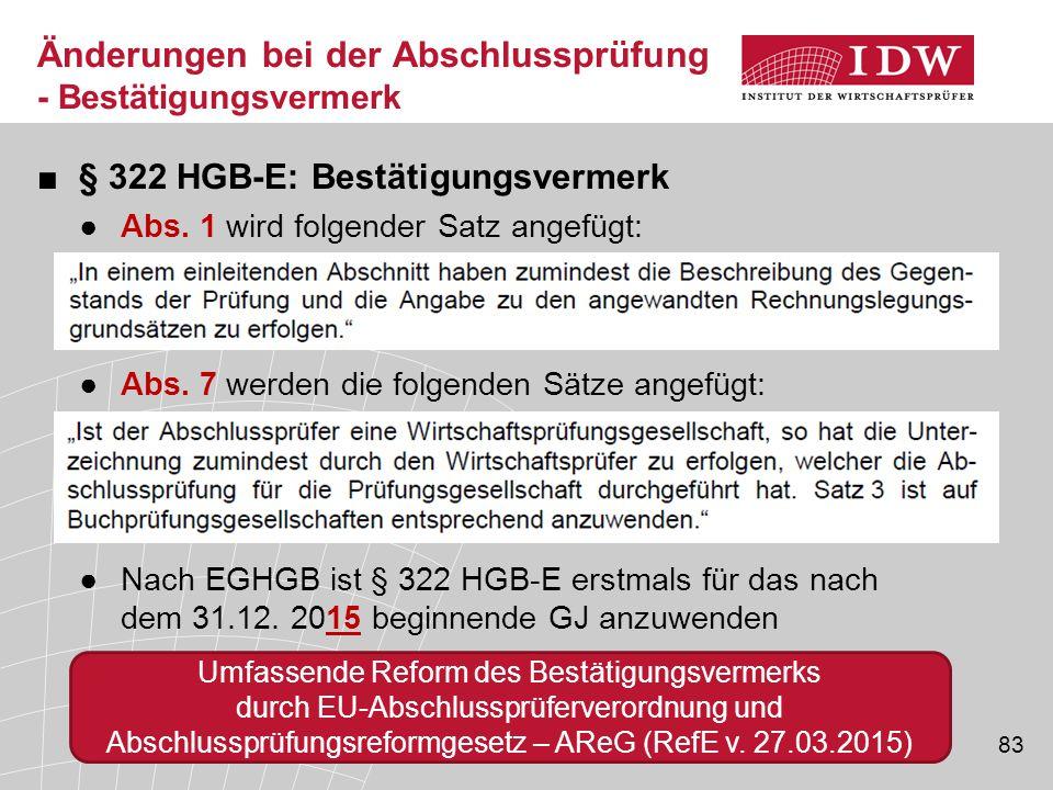 83 ■§ 322 HGB-E: Bestätigungsvermerk ●Abs.1 wird folgender Satz angefügt: ●Abs.