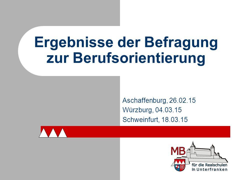 Ergebnisse der Befragung zur Berufsorientierung Aschaffenburg, 26.02.15 Würzburg, 04.03.15 Schweinfurt, 18.03.15