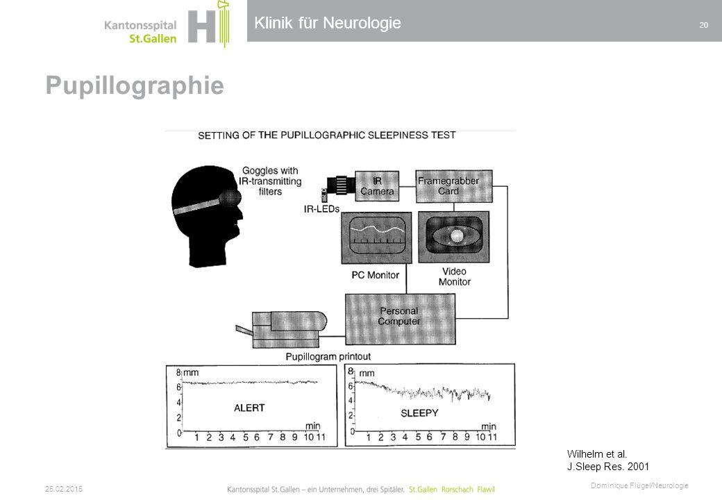 Klinik für Neurologie Pupillographie 25.02.2015 Dominique Flügel/Neurologie 20 Wilhelm et al. J.Sleep Res. 2001