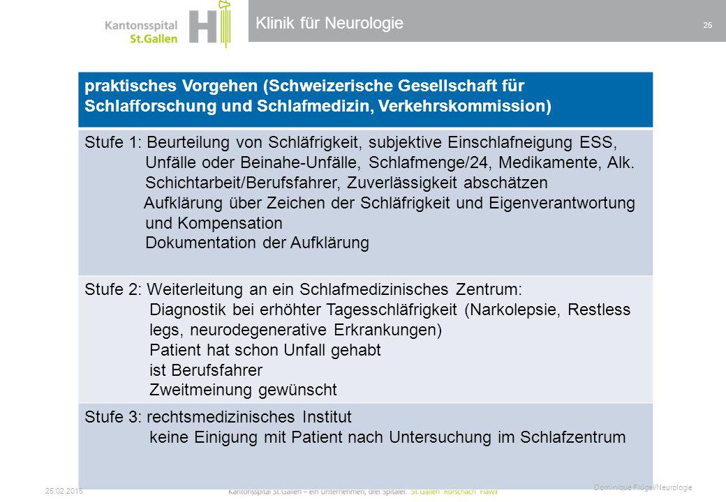 Klinik für Neurologie praktisches Vorgehen (Schweizerische Gesellschaft für Schlafforschung und Schlafmedizin, Verkehrskommission) Stufe 1: Beurteilun