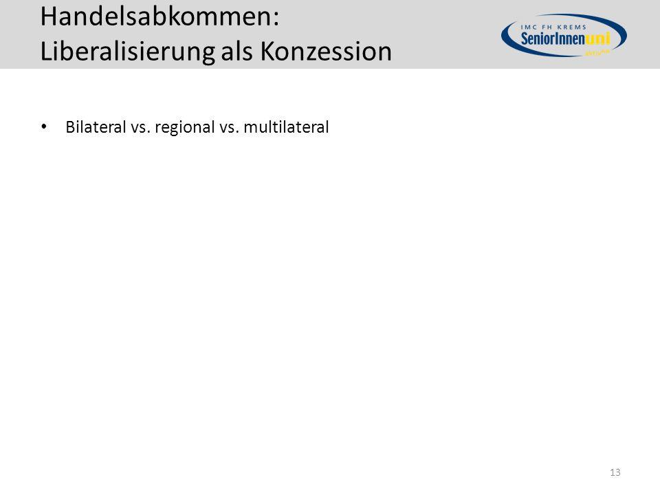 Handelsabkommen: Liberalisierung als Konzession Bilateral vs. regional vs. multilateral 13