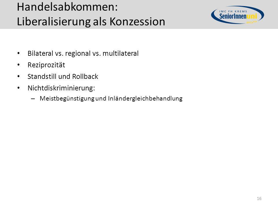 Handelsabkommen: Liberalisierung als Konzession Bilateral vs.
