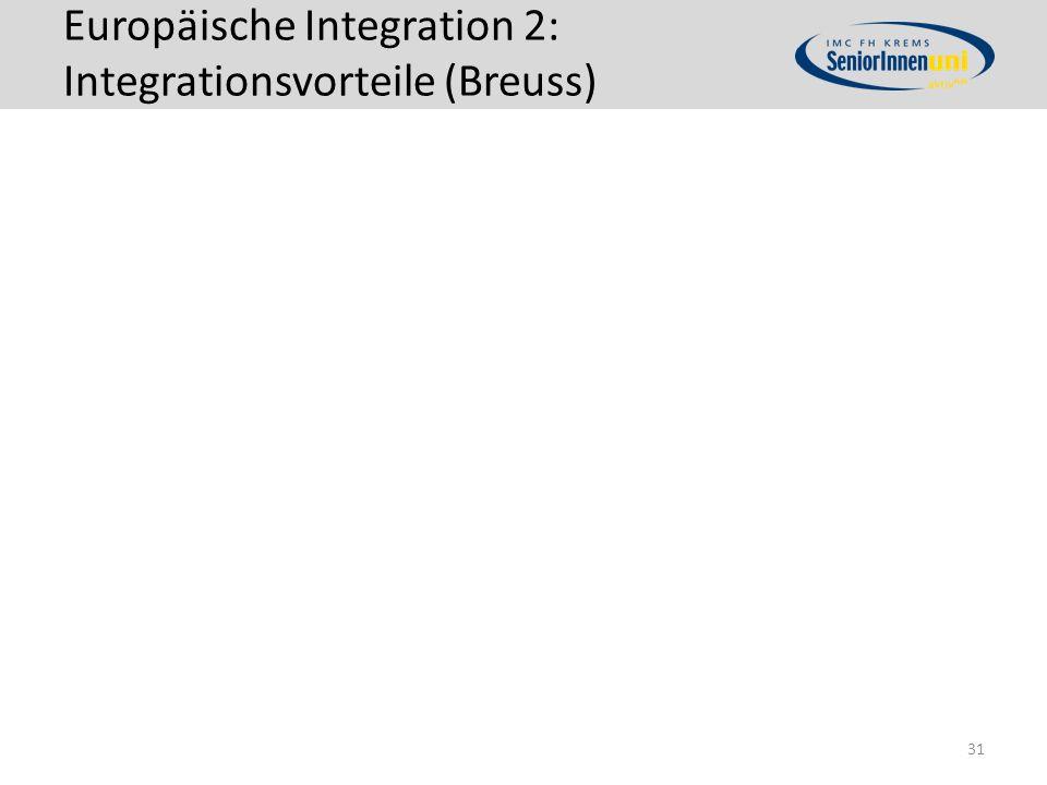 Europäische Integration 2: Integrationsvorteile (Breuss) 31