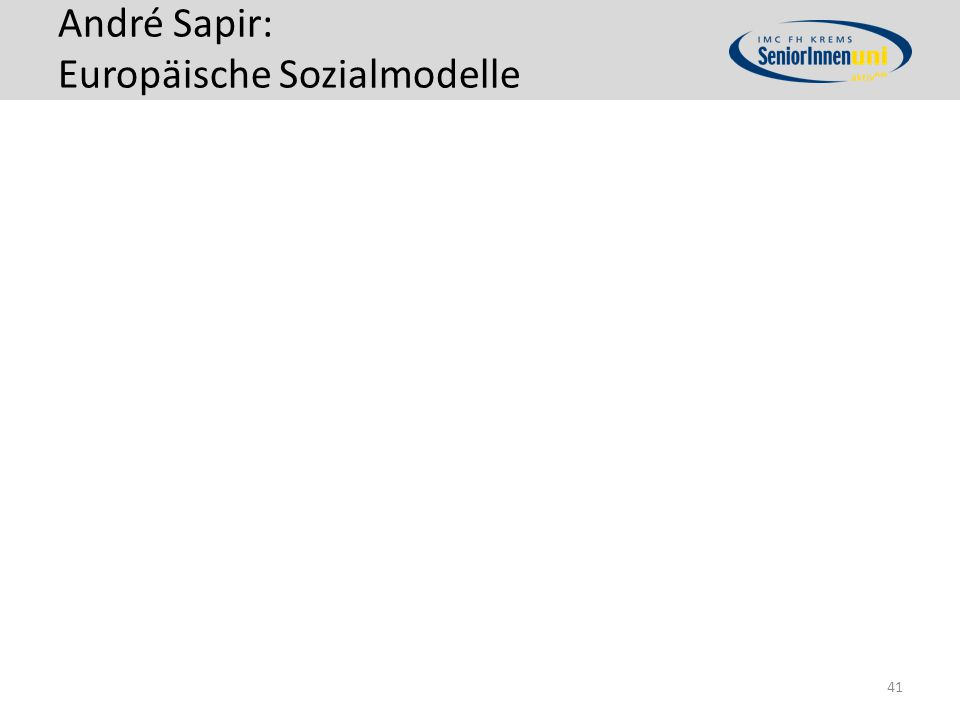 André Sapir: Europäische Sozialmodelle 41