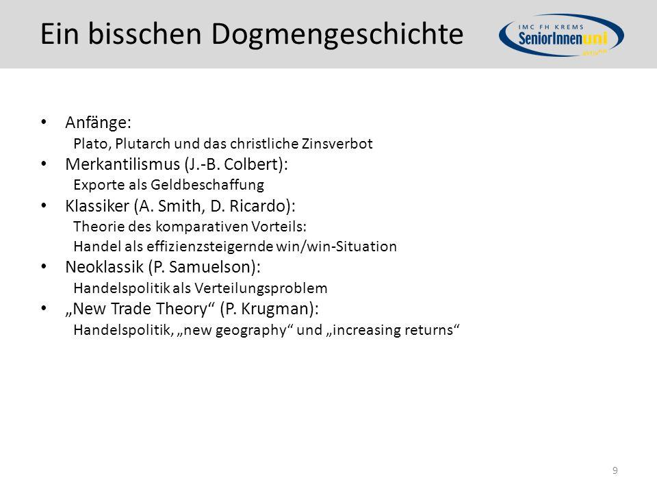 Ein bisschen Dogmengeschichte Anfänge: Plato, Plutarch und das christliche Zinsverbot Merkantilismus (J.-B.