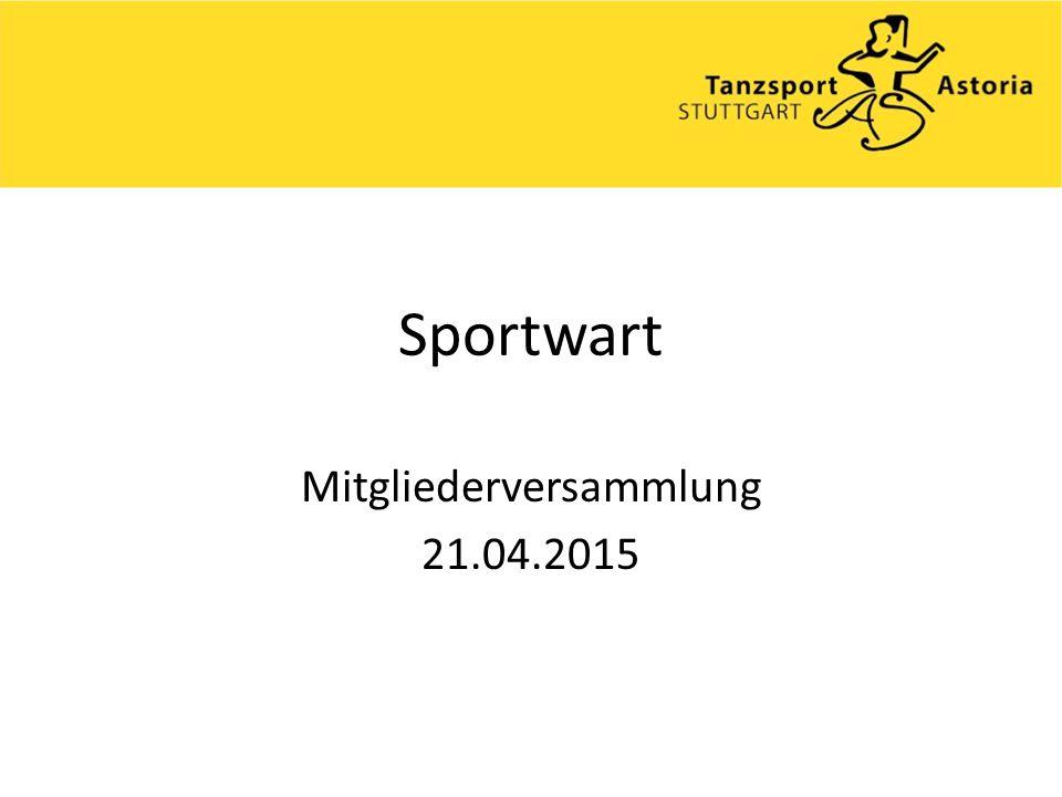 Sportwart Mitgliederversammlung 21.04.2015