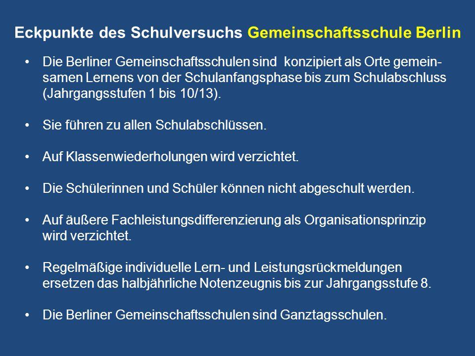 Eckpunkte des Schulversuchs Gemeinschaftsschule Berlin Die Berliner Gemeinschaftsschulen sind konzipiert als Orte gemein- samen Lernens von der Schula