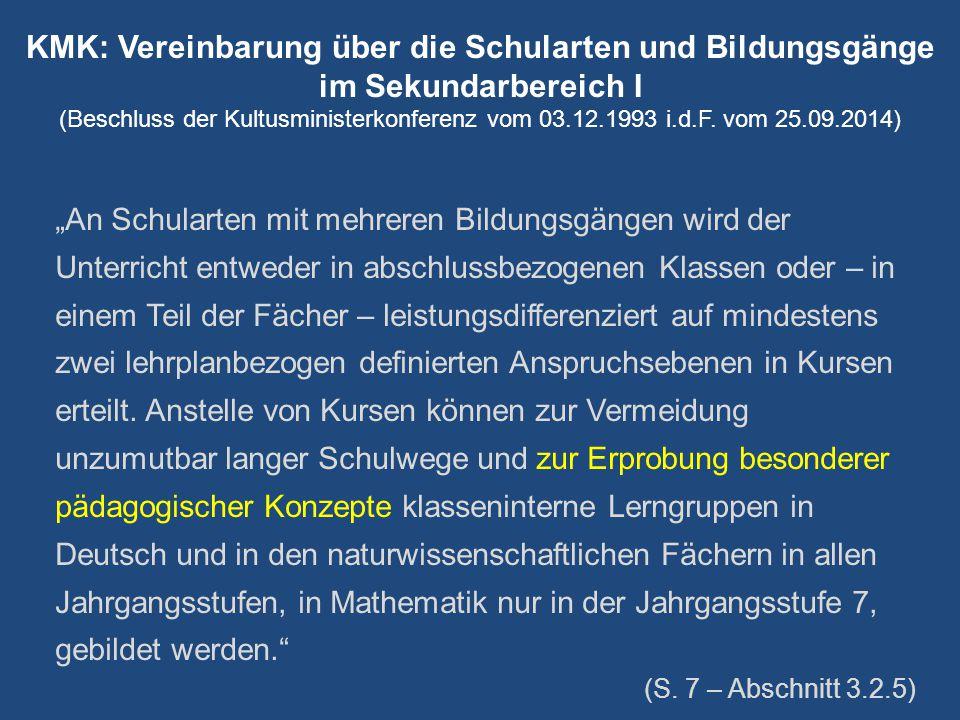KMK: Vereinbarung über die Schularten und Bildungsgänge im Sekundarbereich I (Beschluss der Kultusministerkonferenz vom 03.12.1993 i.d.F. vom 25.09.20