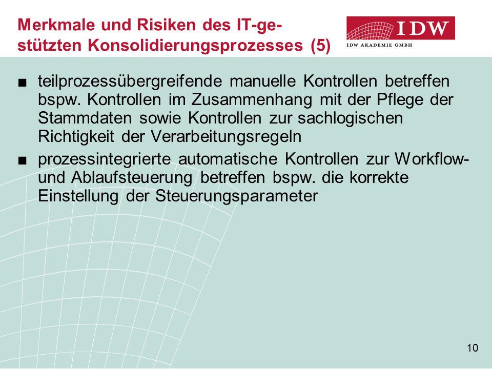 10 ■teilprozessübergreifende manuelle Kontrollen betreffen bspw. Kontrollen im Zusammenhang mit der Pflege der Stammdaten sowie Kontrollen zur sachlog