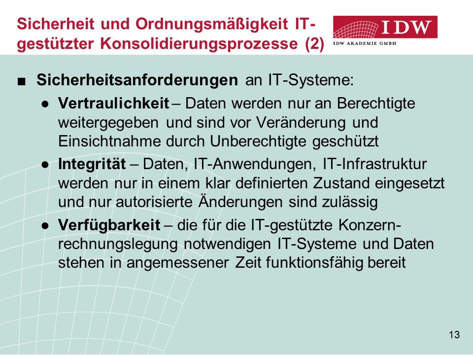 13 Sicherheit und Ordnungsmäßigkeit IT- gestützter Konsolidierungsprozesse (2) ■Sicherheitsanforderungen an IT-Systeme: ●Vertraulichkeit – Daten werde