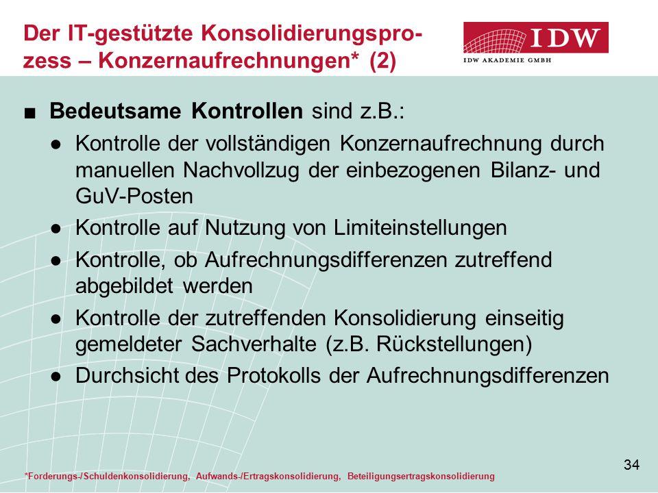 34 ■Bedeutsame Kontrollen sind z.B.: ●Kontrolle der vollständigen Konzernaufrechnung durch manuellen Nachvollzug der einbezogenen Bilanz- und GuV-Post