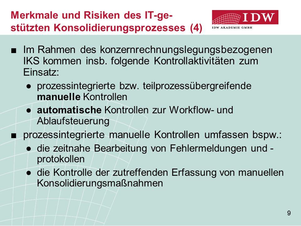 10 ■teilprozessübergreifende manuelle Kontrollen betreffen bspw.