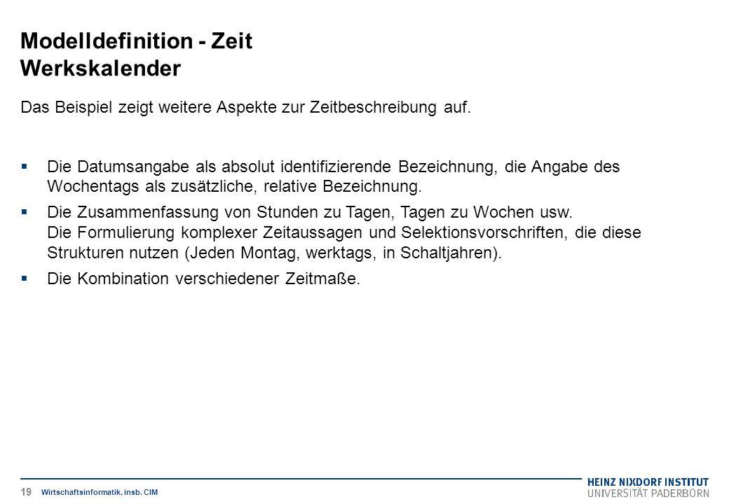 Modelldefinition - Zeit Werkskalender Wirtschaftsinformatik, insb. CIM Das Beispiel zeigt weitere Aspekte zur Zeitbeschreibung auf.  Die Datumsangabe