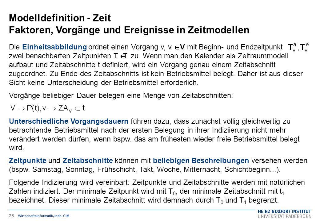 Modelldefinition - Zeit Faktoren, Vorgänge und Ereignisse in Zeitmodellen Wirtschaftsinformatik, insb. CIM Die Einheitsabbildung ordnet einen Vorgang
