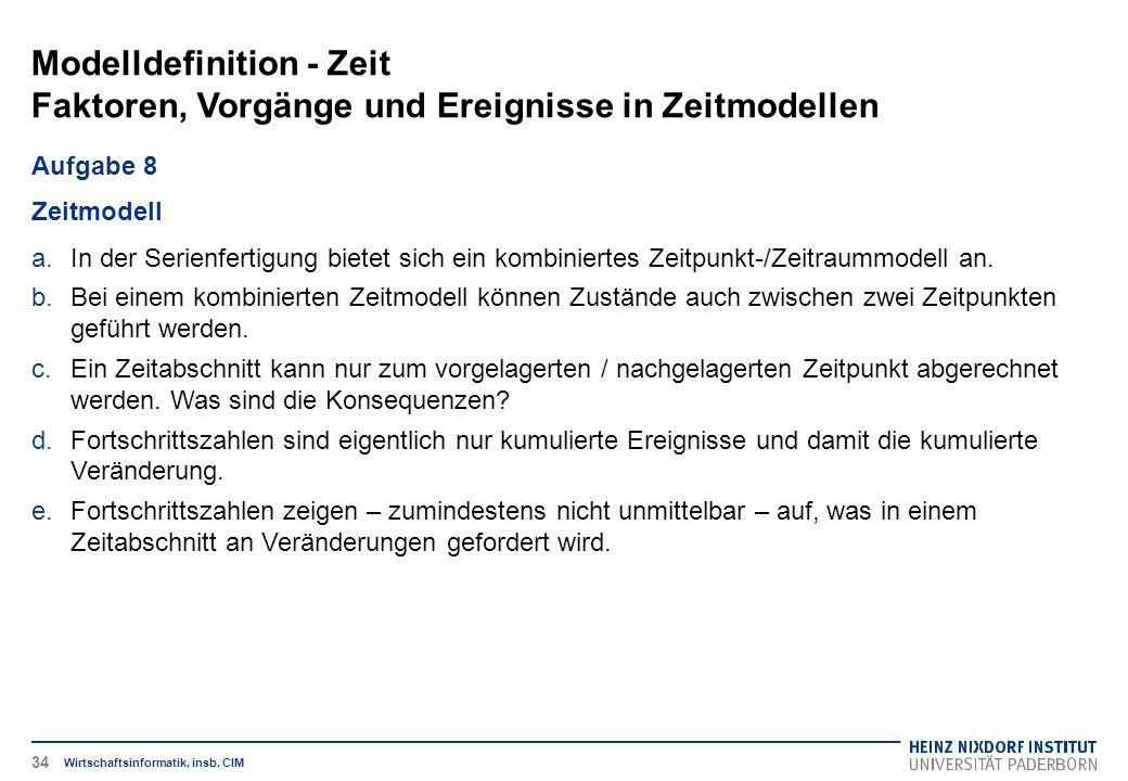 Modelldefinition - Zeit Faktoren, Vorgänge und Ereignisse in Zeitmodellen Wirtschaftsinformatik, insb. CIM Aufgabe 8 Zeitmodell a.In der Serienfertigu