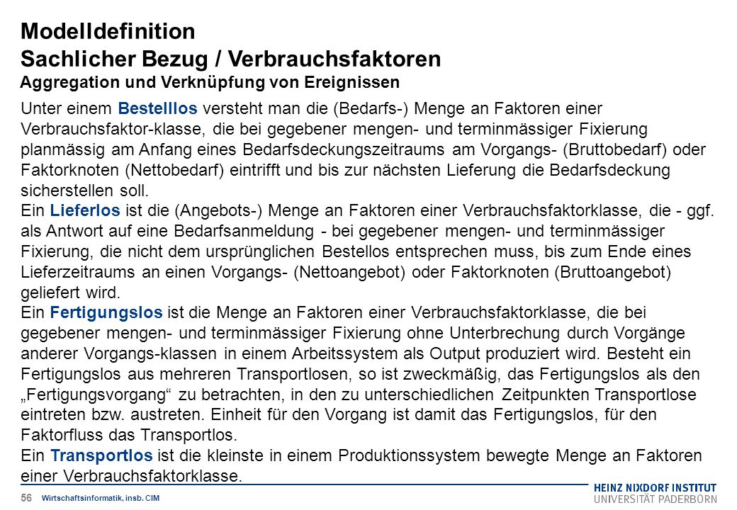 Modelldefinition Sachlicher Bezug / Verbrauchsfaktoren Aggregation und Verknüpfung von Ereignissen Wirtschaftsinformatik, insb. CIM Unter einem Bestel