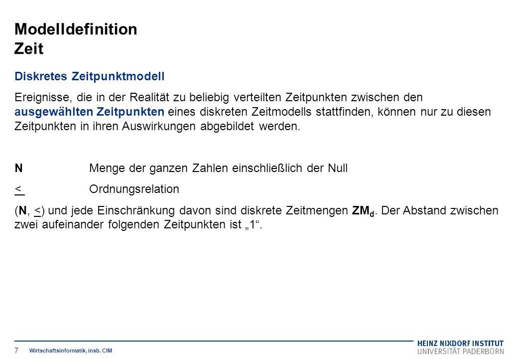 Modelldefinition Zeit Wirtschaftsinformatik, insb. CIM Diskretes Zeitpunktmodell Ereignisse, die in der Realität zu beliebig verteilten Zeitpunkten zw