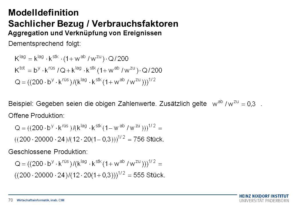 Modelldefinition Sachlicher Bezug / Verbrauchsfaktoren Aggregation und Verknüpfung von Ereignissen Wirtschaftsinformatik, insb. CIM Dementsprechend fo