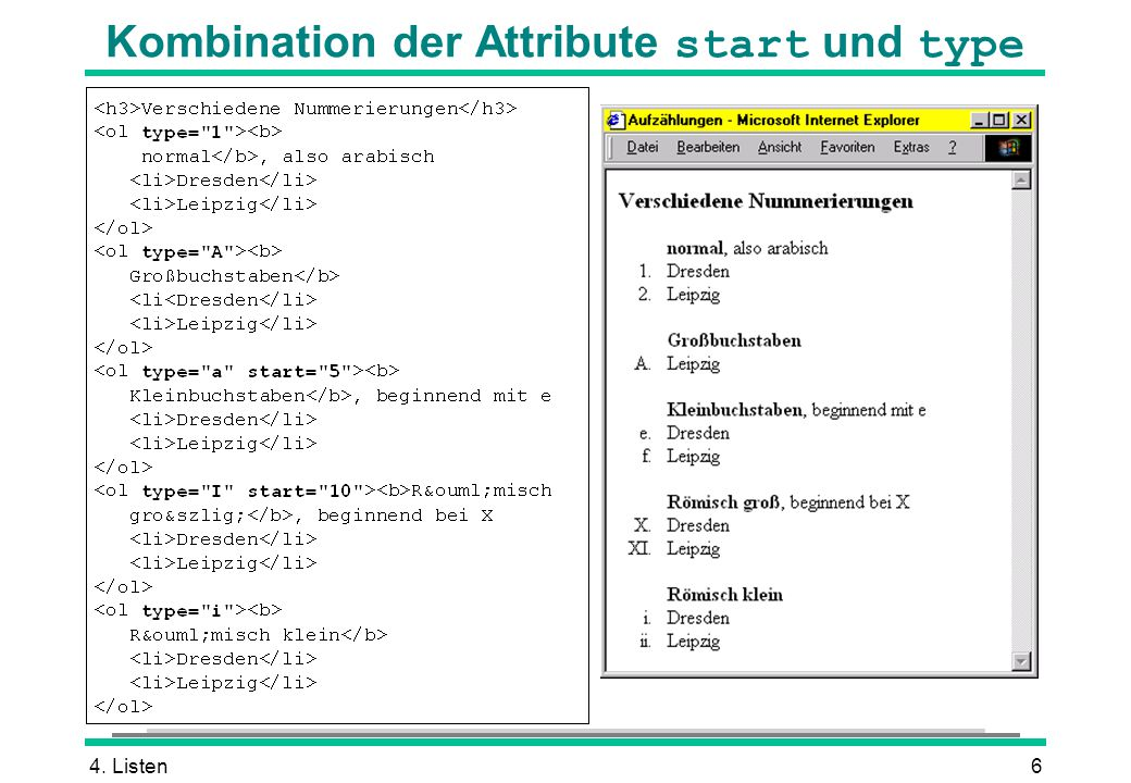 4. Listen6 Kombination der Attribute start und type