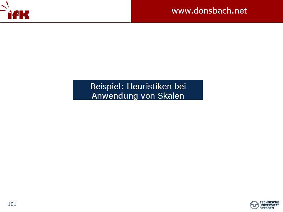 101 www.donsbach.net Beispiel: Heuristiken bei Anwendung von Skalen