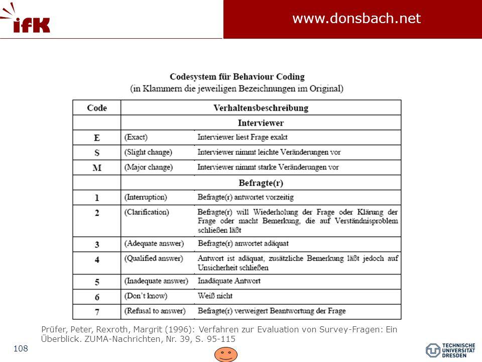 108 www.donsbach.net Prüfer, Peter, Rexroth, Margrit (1996): Verfahren zur Evaluation von Survey-Fragen: Ein Überblick.