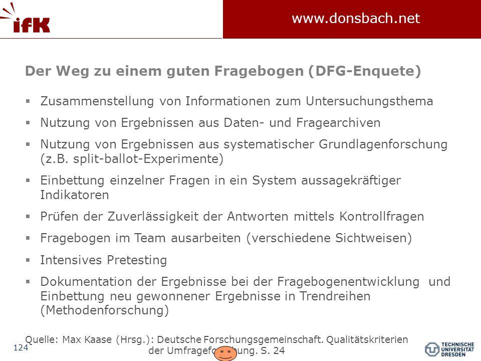 124 www.donsbach.net  Zusammenstellung von Informationen zum Untersuchungsthema  Nutzung von Ergebnissen aus Daten- und Fragearchiven  Nutzung von Ergebnissen aus systematischer Grundlagenforschung (z.B.