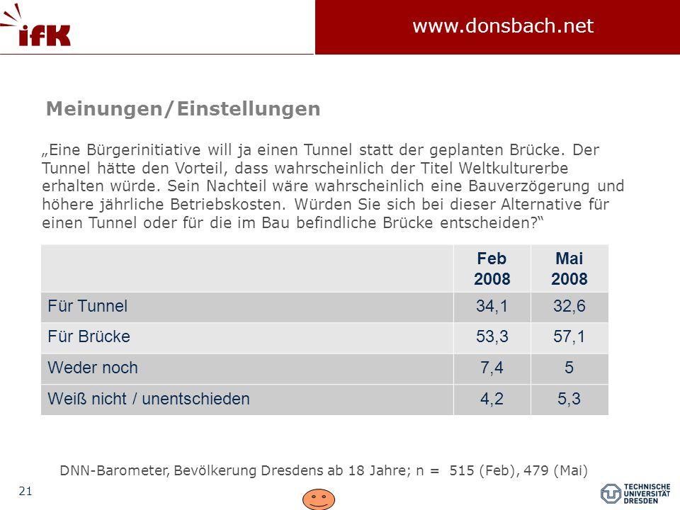"""21 www.donsbach.net """"Eine Bürgerinitiative will ja einen Tunnel statt der geplanten Brücke."""