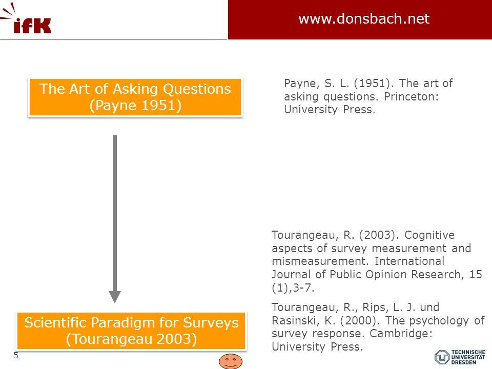 """16 www.donsbach.net Fragebogen und Frageformen Definition: """"Ein Fragebogen ist eine mehr oder weniger standardisierte Zusammenstellung von Fragen, die Personen zur Beantwortung vorgelegt werden mit dem Ziel, deren Antworten zur Überprüfung der den Fragen zugrunde liegenden theoretischen Konzepte und Zusammenhänge zu verwenden."""