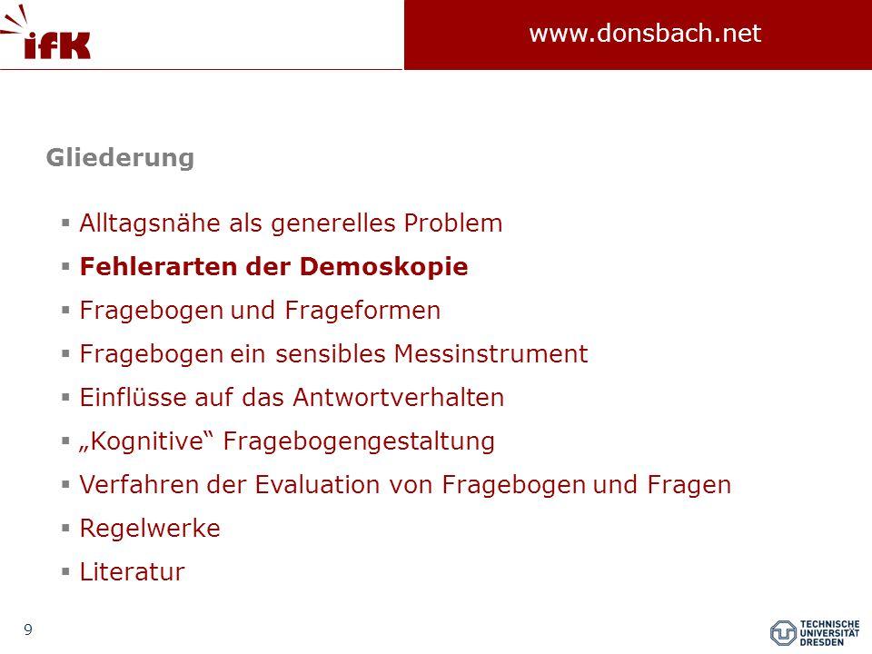 100 www.donsbach.net ELM angewendet auf Umfrageforschung