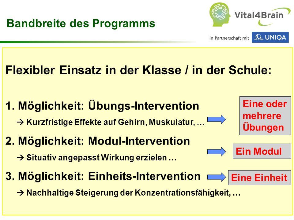 Chart 29 Flexibler Einsatz in der Klasse / in der Schule: 1. Möglichkeit: Übungs-Intervention  Kurzfristige Effekte auf Gehirn, Muskulatur, … 2. Mögl