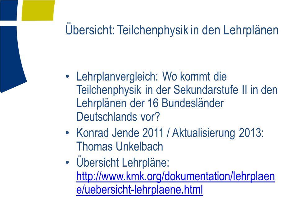 Übersicht: Teilchenphysik in den Lehrplänen Lehrplanvergleich: Wo kommt die Teilchenphysik in der Sekundarstufe II in den Lehrplänen der 16 Bundesländer Deutschlands vor.