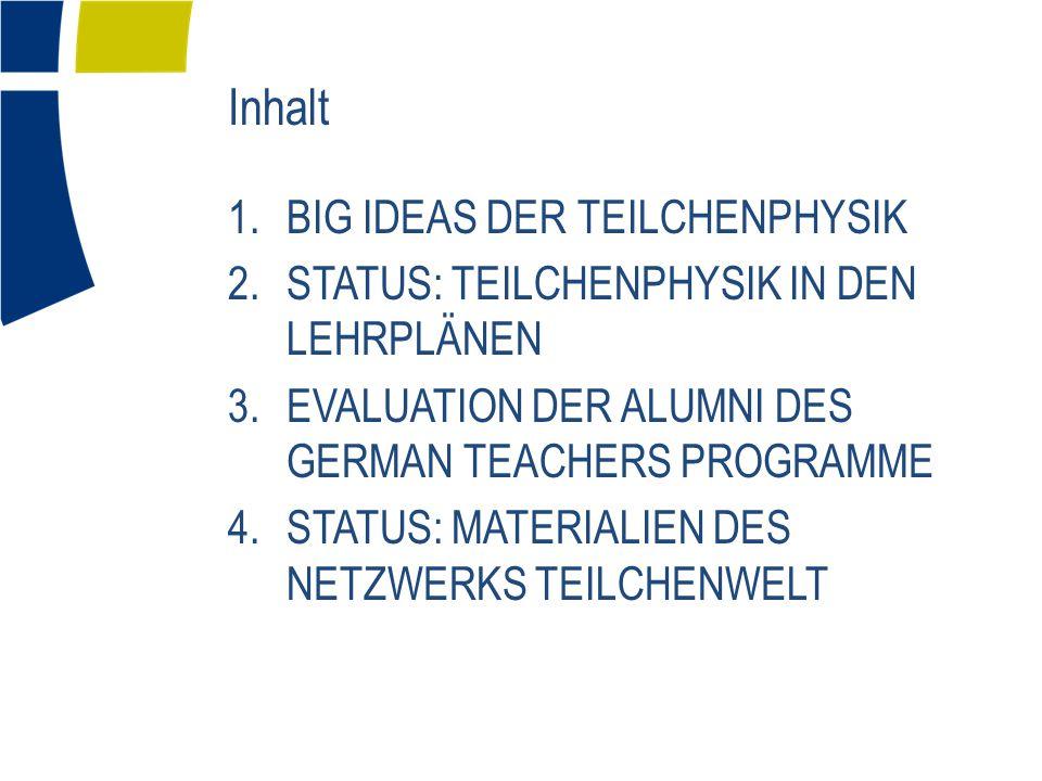 Inhalt 1.BIG IDEAS DER TEILCHENPHYSIK 2.STATUS: TEILCHENPHYSIK IN DEN LEHRPLÄNEN 3.EVALUATION DER ALUMNI DES GERMAN TEACHERS PROGRAMME 4.STATUS: MATERIALIEN DES NETZWERKS TEILCHENWELT