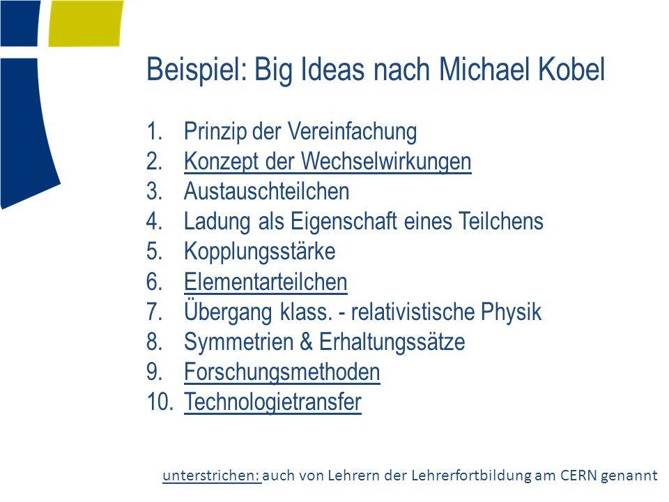 Beispiel: Big Ideas nach Michael Kobel 1.Prinzip der Vereinfachung 2.Konzept der Wechselwirkungen 3.Austauschteilchen 4.Ladung als Eigenschaft eines Teilchens 5.Kopplungsstärke 6.Elementarteilchen 7.Übergang klass.