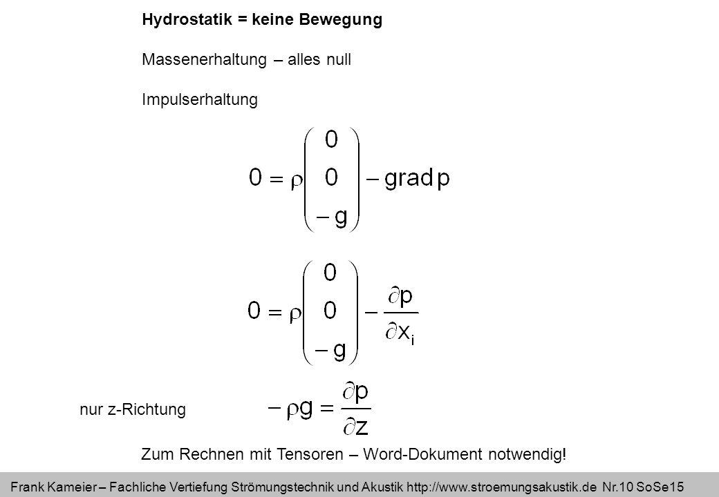 Frank Kameier – Fachliche Vertiefung Strömungstechnik und Akustik http://www.stroemungsakustik.de Nr.10 SoSe15 Hydrostatik = keine Bewegung Massenerha