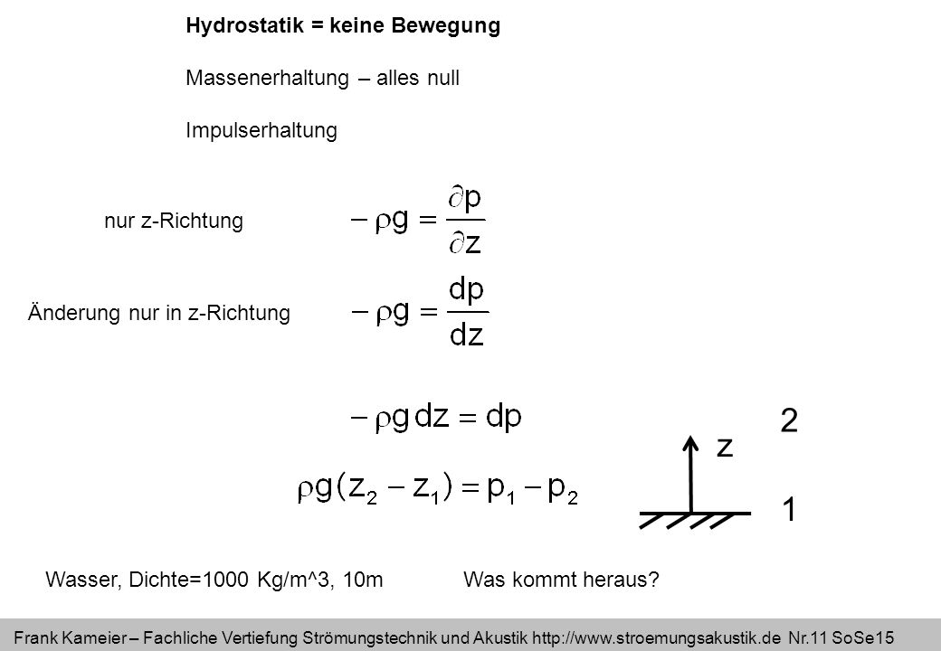 Frank Kameier – Fachliche Vertiefung Strömungstechnik und Akustik http://www.stroemungsakustik.de Nr.11 SoSe15 Hydrostatik = keine Bewegung Massenerha