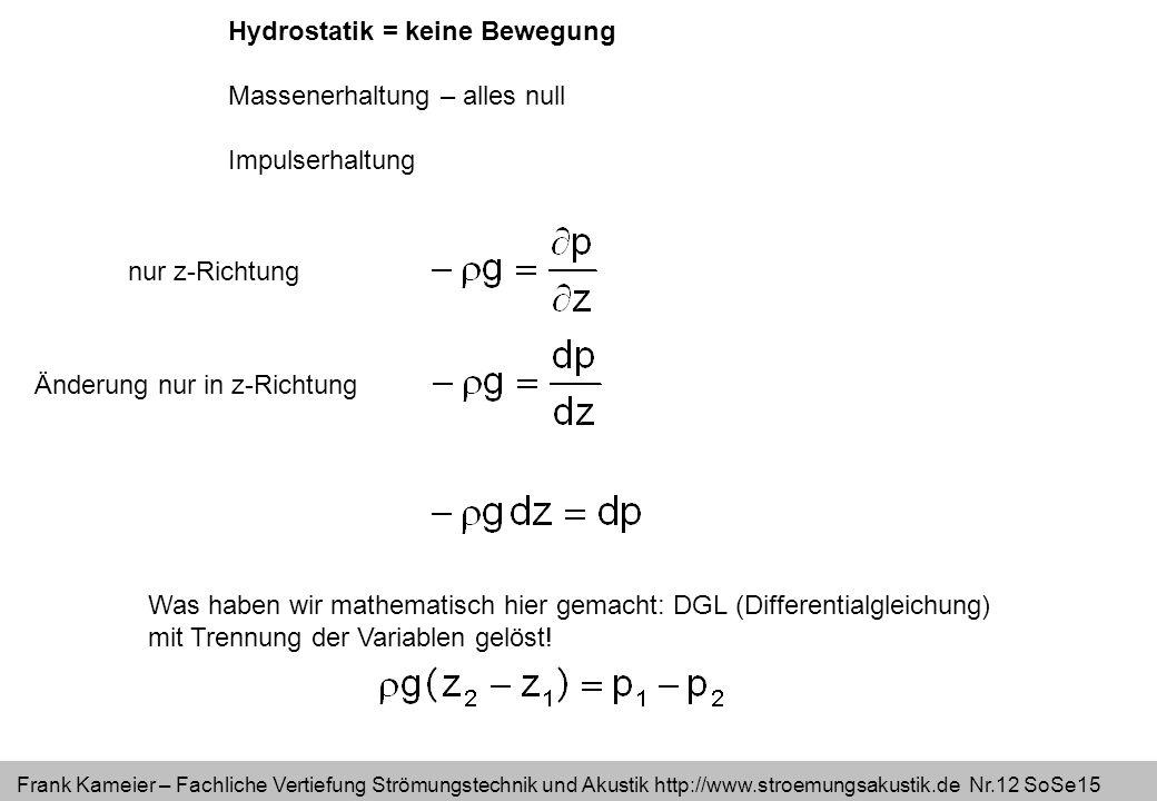 Frank Kameier – Fachliche Vertiefung Strömungstechnik und Akustik http://www.stroemungsakustik.de Nr.12 SoSe15 Hydrostatik = keine Bewegung Massenerha