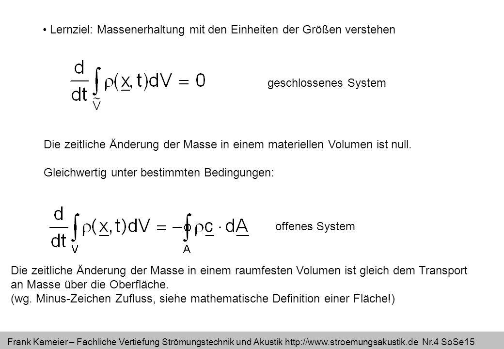 Frank Kameier – Fachliche Vertiefung Strömungstechnik und Akustik http://www.stroemungsakustik.de Nr.4 SoSe15 Lernziel: Massenerhaltung mit den Einhei