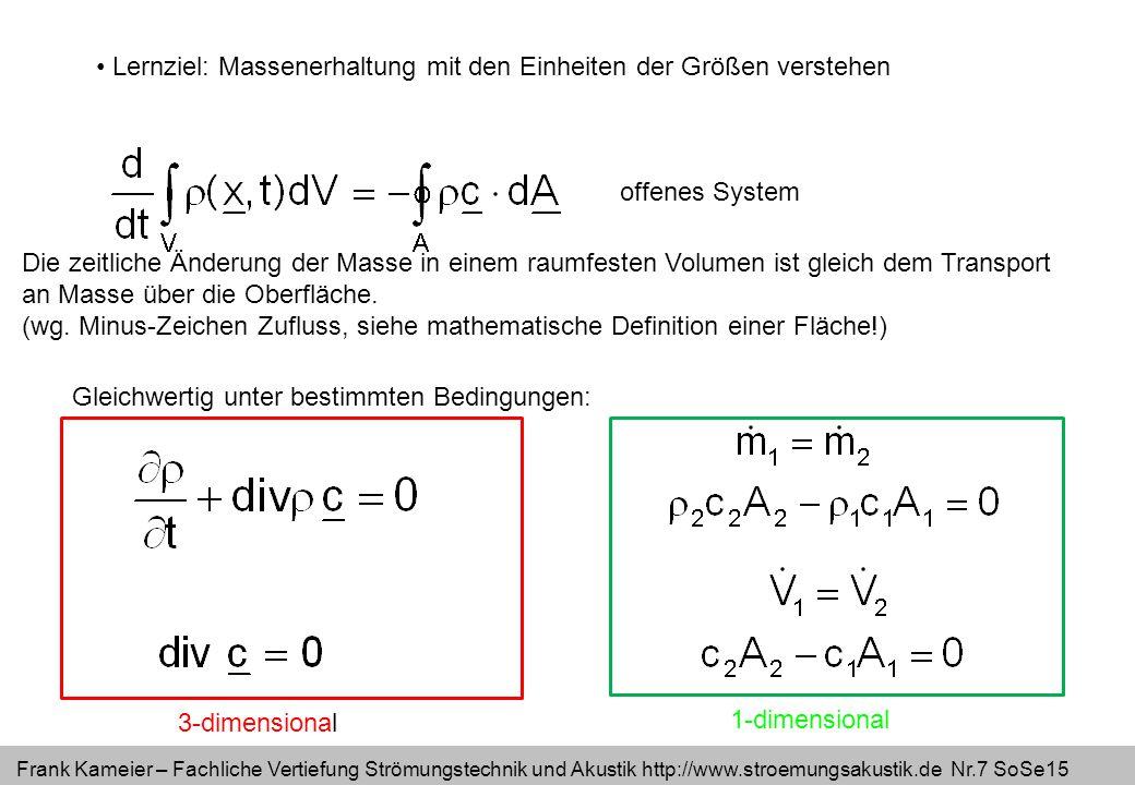 Frank Kameier – Fachliche Vertiefung Strömungstechnik und Akustik http://www.stroemungsakustik.de Nr.7 SoSe15 Lernziel: Massenerhaltung mit den Einhei