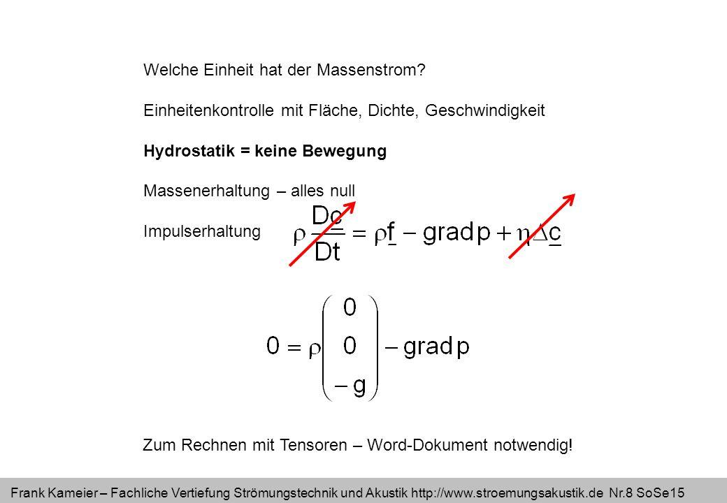 Frank Kameier – Fachliche Vertiefung Strömungstechnik und Akustik http://www.stroemungsakustik.de Nr.9 SoSe15 Welche Einheit hat der Massenstrom.