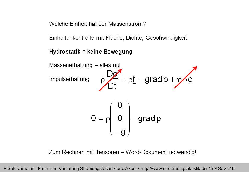Frank Kameier – Fachliche Vertiefung Strömungstechnik und Akustik http://www.stroemungsakustik.de Nr.10 SoSe15 Hydrostatik = keine Bewegung Massenerhaltung – alles null Impulserhaltung Zum Rechnen mit Tensoren – Word-Dokument notwendig.