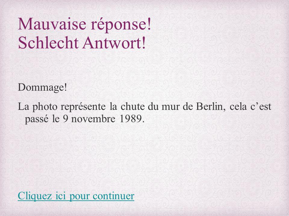 Mauvaise réponse! Schlecht Antwort! Dommage! La photo représente la chute du mur de Berlin, cela c'est passé le 9 novembre 1989. Cliquez ici pour cont