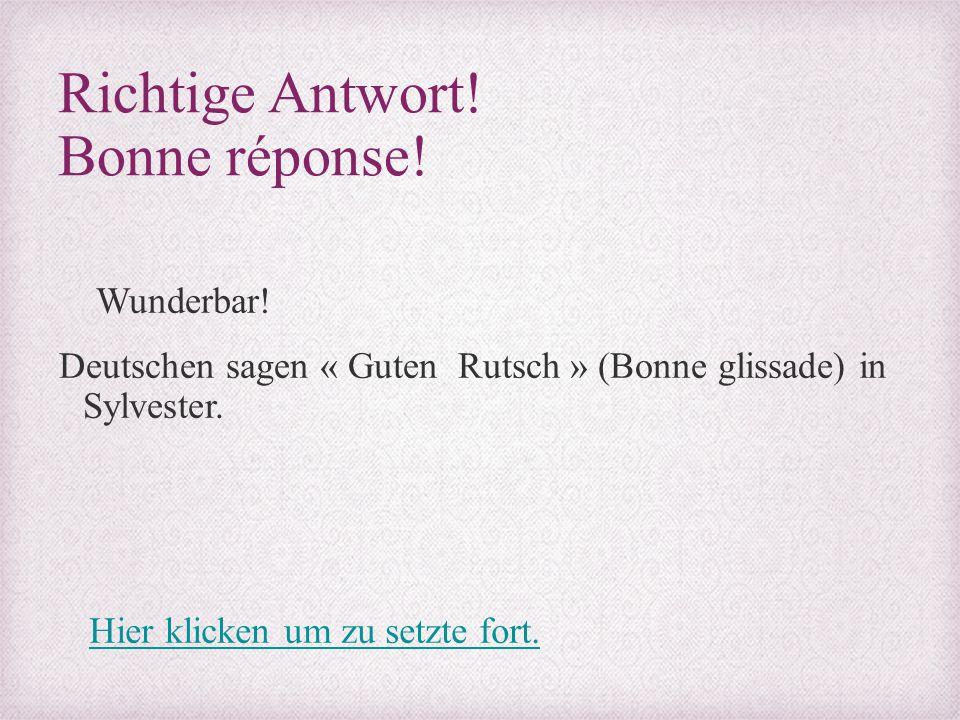 Richtige Antwort! Bonne réponse! Wunderbar! Deutschen sagen « Guten Rutsch » (Bonne glissade) in Sylvester. Hier klicken um zu setzte fort.