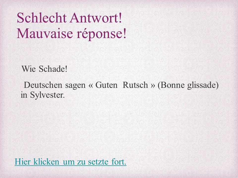 Schlecht Antwort! Mauvaise réponse! Wie Schade! Deutschen sagen « Guten Rutsch » (Bonne glissade) in Sylvester. Hier klicken um zu setzte fort.