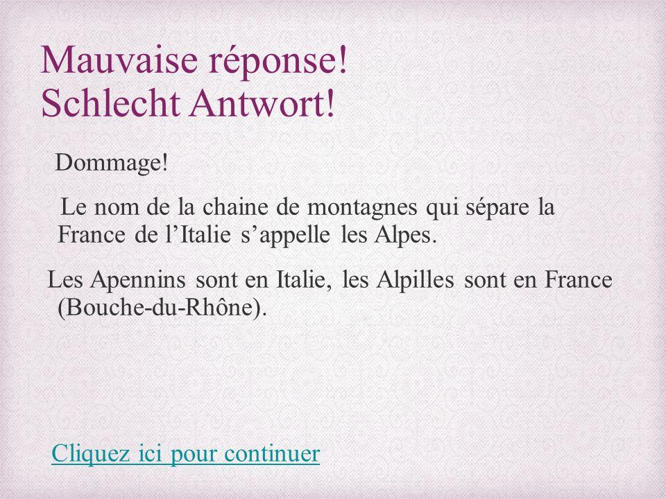 Mauvaise réponse! Schlecht Antwort! Dommage! Le nom de la chaine de montagnes qui sépare la France de l'Italie s'appelle les Alpes. Les Apennins sont