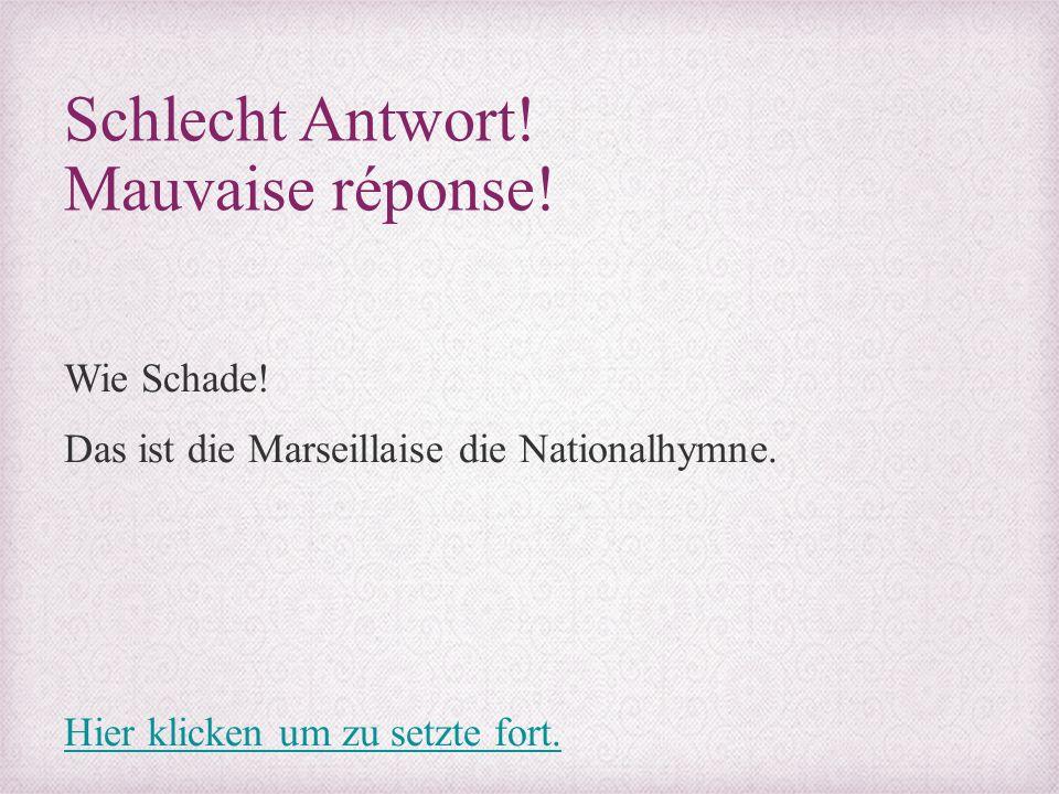 Schlecht Antwort! Mauvaise réponse! Wie Schade! Das ist die Marseillaise die Nationalhymne. Hier klicken um zu setzte fort.