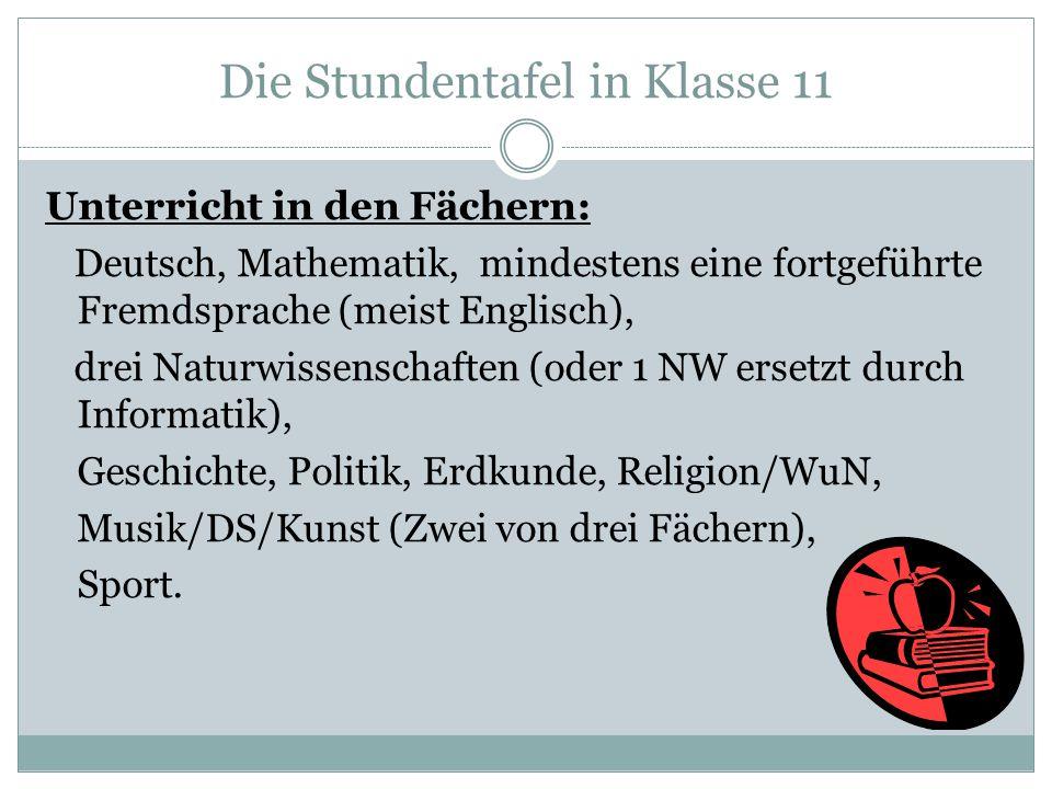 Die Stundentafel in Klasse 11 Unterricht in den Fächern: Deutsch, Mathematik, mindestens eine fortgeführte Fremdsprache (meist Englisch), drei Naturwi