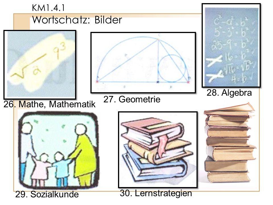 KM1.4.1 Wortschatz: Bilder 30. Lernstrategien 29. Sozialkunde 28. Algebra 27. Geometrie 26. Mathe, Mathematik