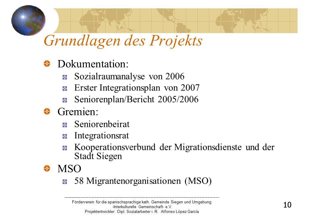 10 Grundlagen des Projekts Dokumentation: Sozialraumanalyse von 2006 Erster Integrationsplan von 2007 Seniorenplan/Bericht 2005/2006 Gremien: Seniorenbeirat Integrationsrat Kooperationsverbund der Migrationsdienste und der Stadt Siegen MSO 58 Migrantenorganisationen (MSO) 10 -------------------------------------------------------------------------------------------------------------------- Förderverein für die spanischsprachige kath.