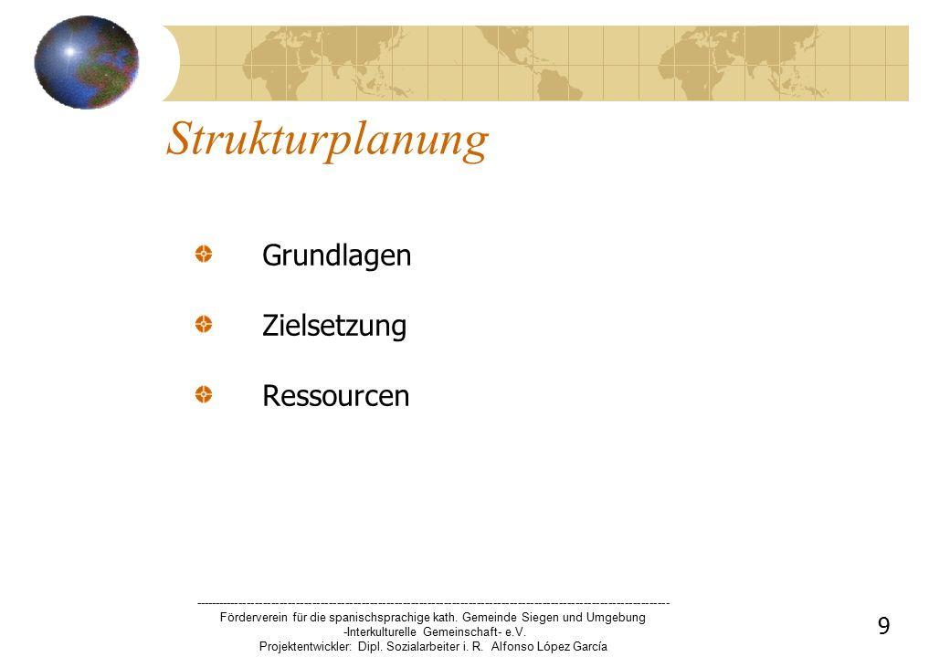 9 Strukturplanung Grundlagen Zielsetzung Ressourcen -------------------------------------------------------------------------------------------------------------------- Förderverein für die spanischsprachige kath.